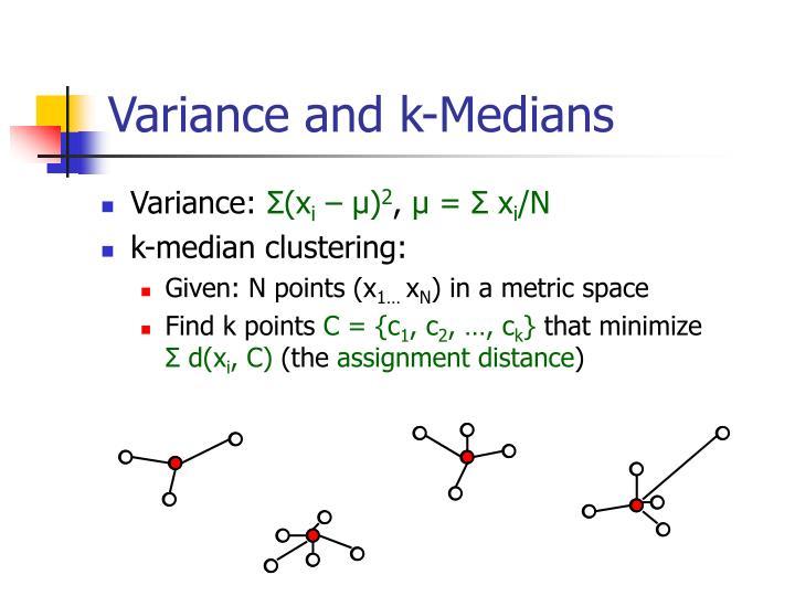 Variance and k-Medians