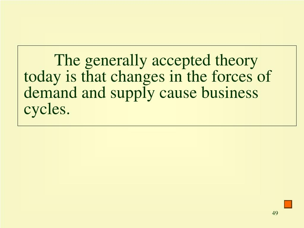 The generally accepted theory today is that changes in the forces of demand and supply cause business cycles.