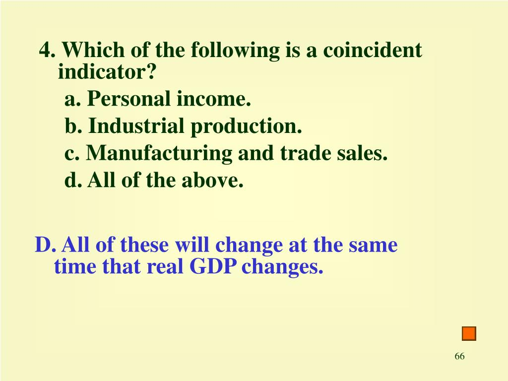 4. Which of the following is a coincident indicator?