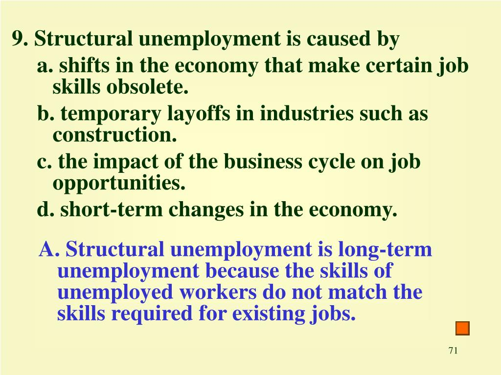 9. Structural unemployment is caused by