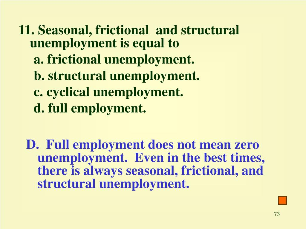 11. Seasonal, frictional  and structural unemployment is equal to