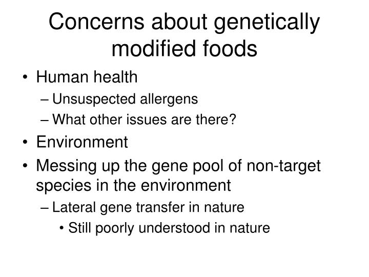 Concerns about genetically modified foods