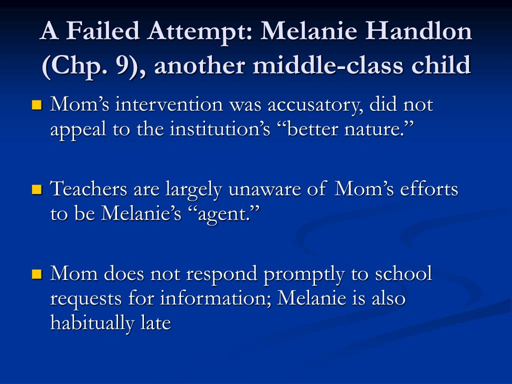 A Failed Attempt: Melanie Handlon (Chp. 9), another middle-class child