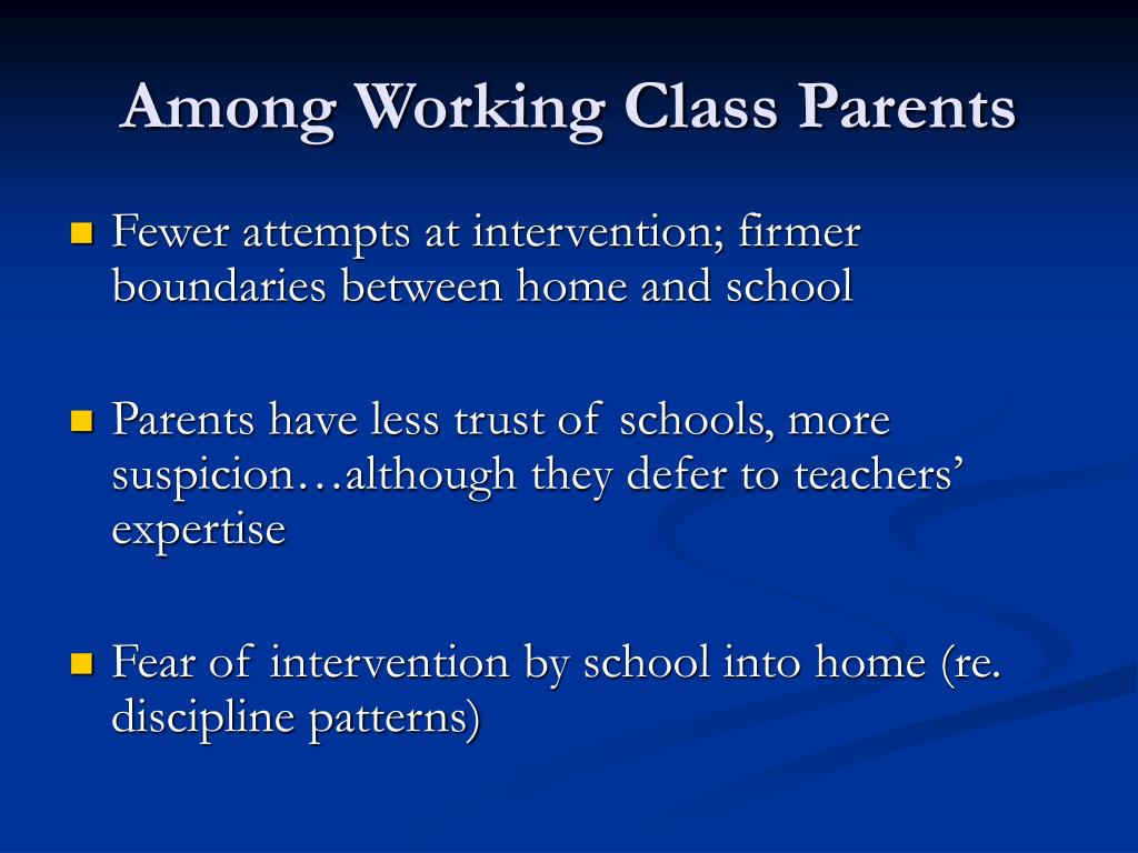 Among Working Class Parents