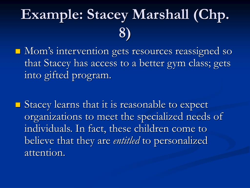 Example: Stacey Marshall (Chp. 8)
