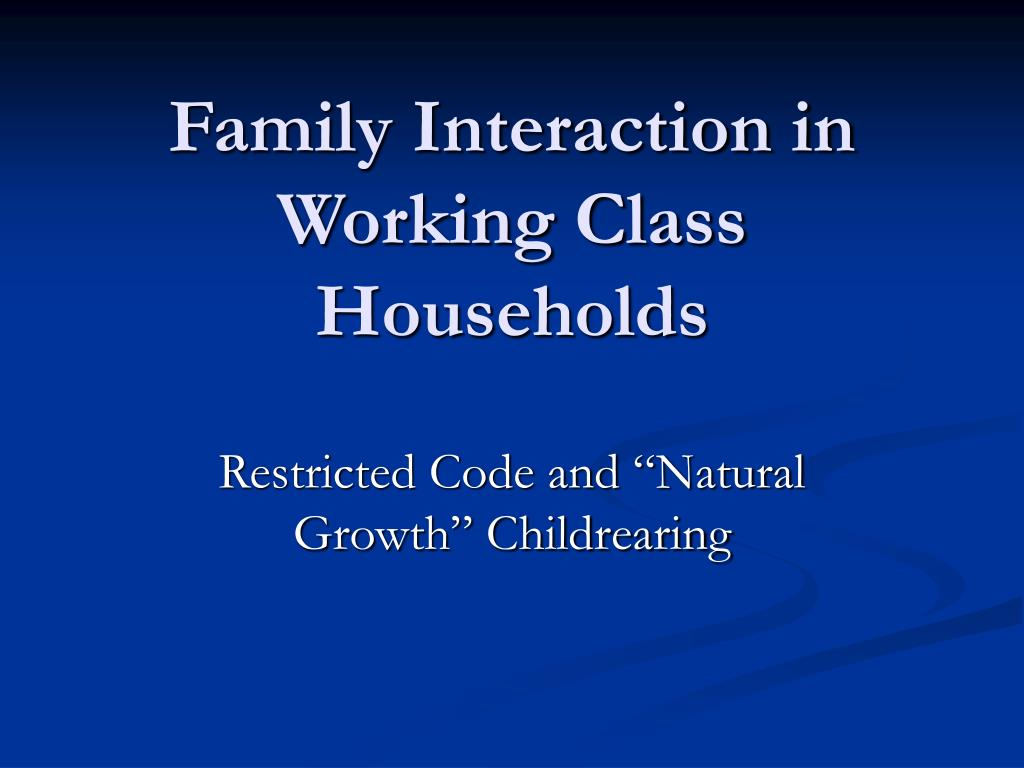 Family Interaction in Working Class Households