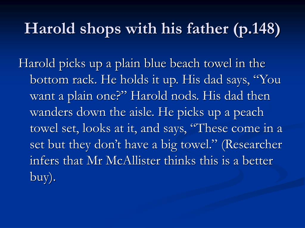 Harold shops with his father (p.148)