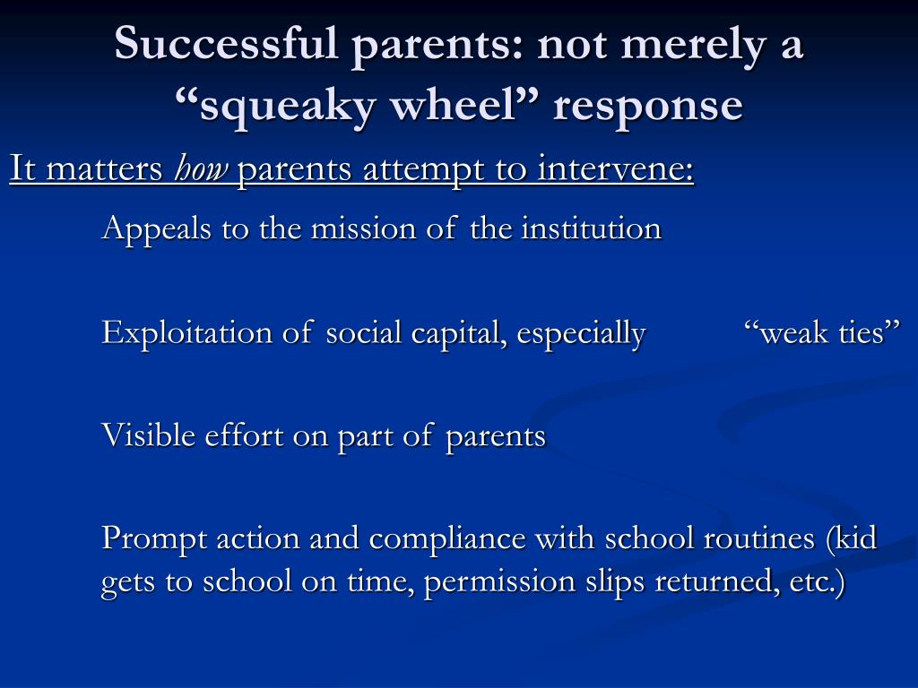 "Successful parents: not merely a ""squeaky wheel"" response"