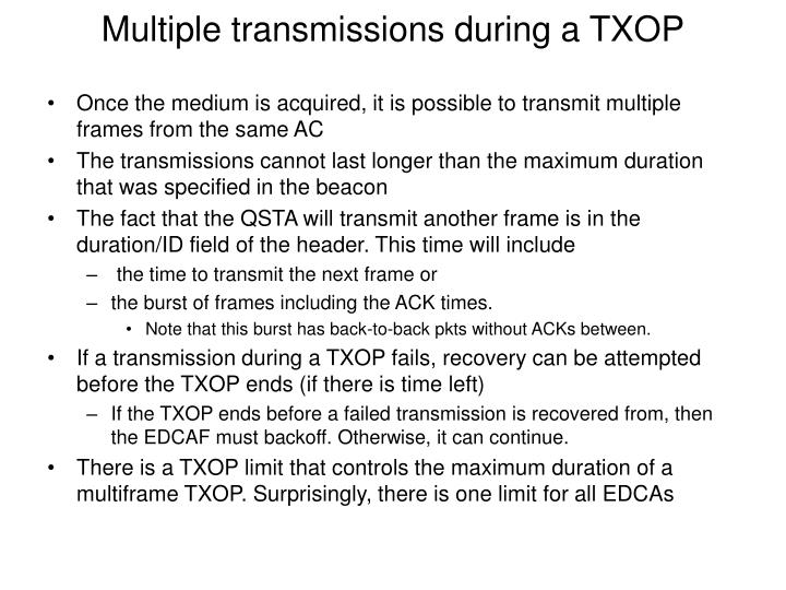 Multiple transmissions during a TXOP