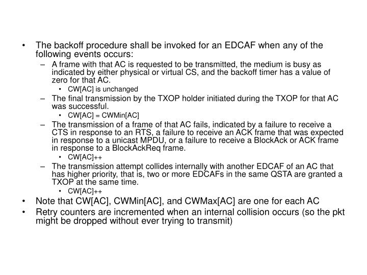 The backoff procedure shall be invoked for an EDCAF when any of the following events occurs: