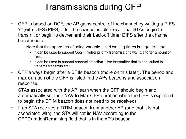 Transmissions during CFP