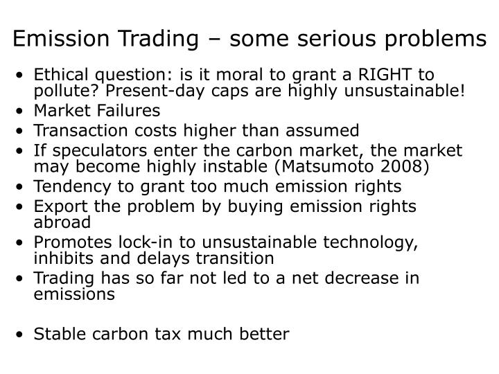 Emission Trading – some serious problems