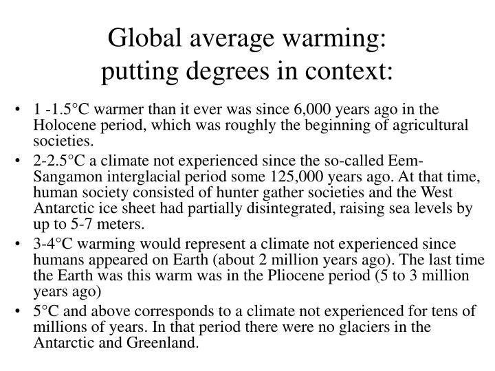 Global average warming: