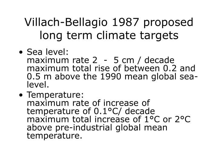 Villach-Bellagio 1987 proposed long term climate targets