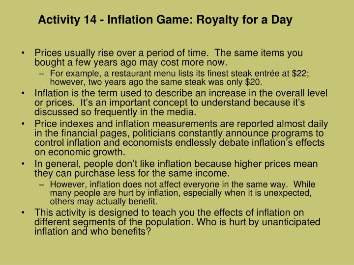 Activity 14 - Inflation Game: Royalty for a Day