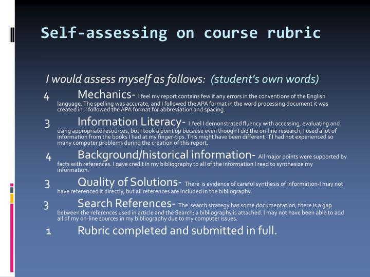 Self-assessing on course rubric