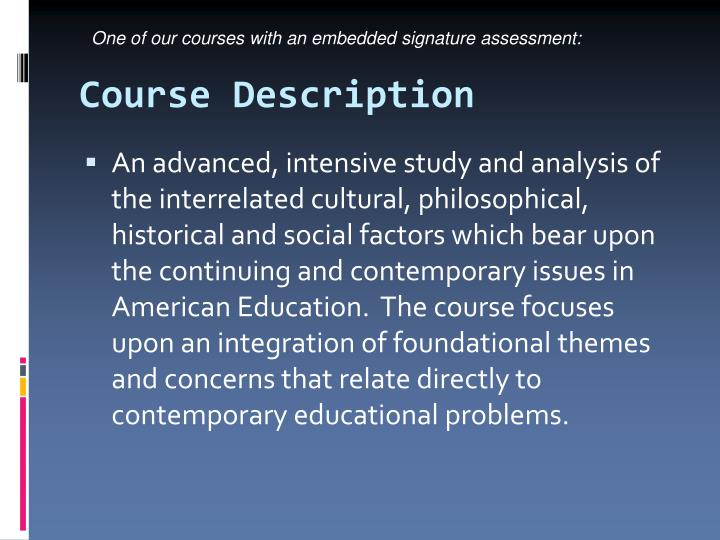 One of our courses with an embedded signature assessment: