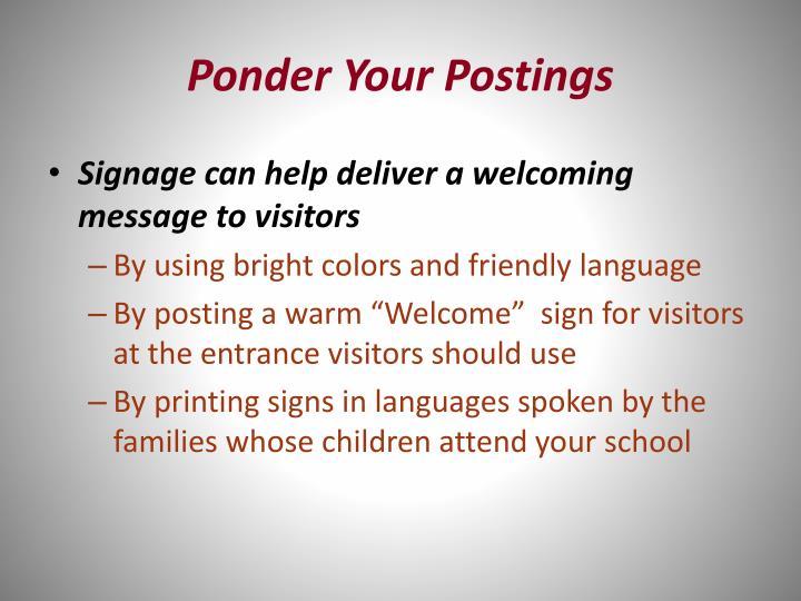 Ponder Your Postings