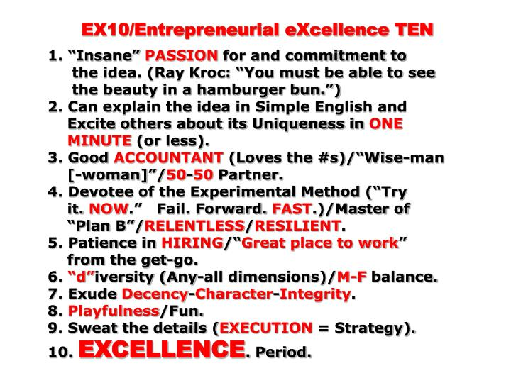 EX10/Entrepreneurial eXcellence TEN