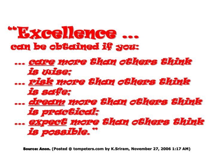 """""""Excellence …"""
