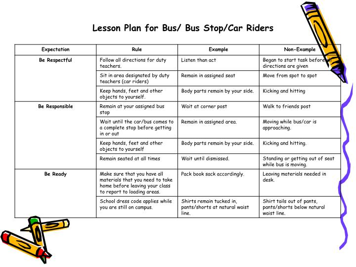 Lesson Plan for Bus/ Bus Stop/Car Riders