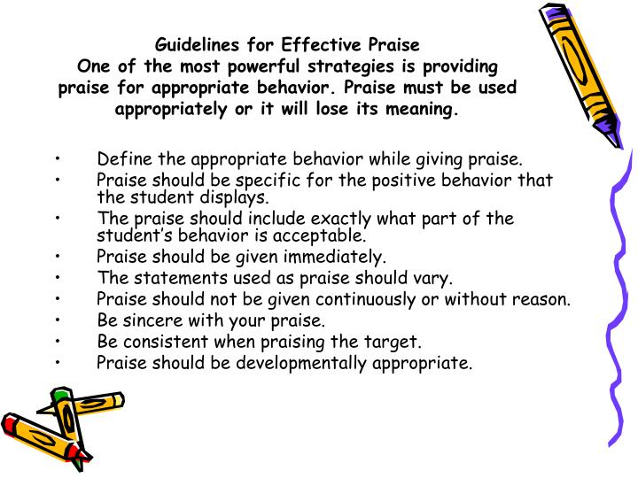Guidelines for Effective Praise