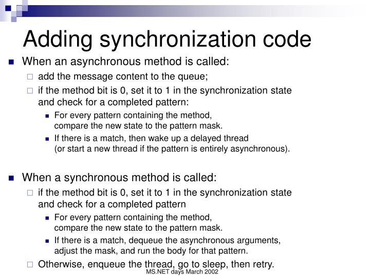 Adding synchronization code
