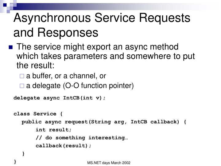 Asynchronous Service Requests and Responses