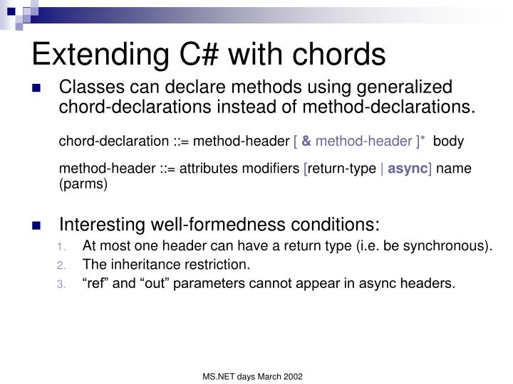 Extending C# with chords