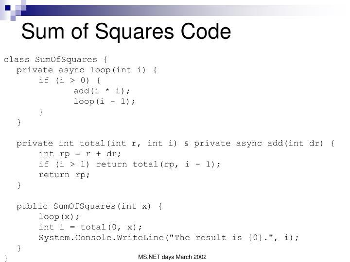 Sum of Squares Code
