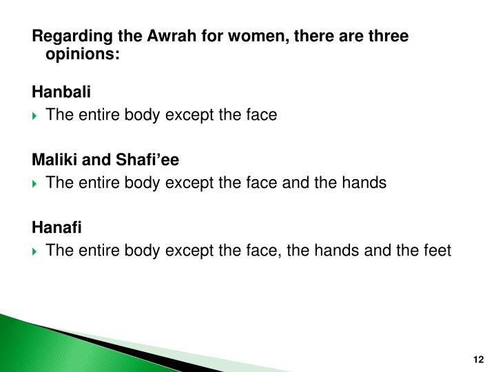 Regarding the Awrah for women, there are three opinions: