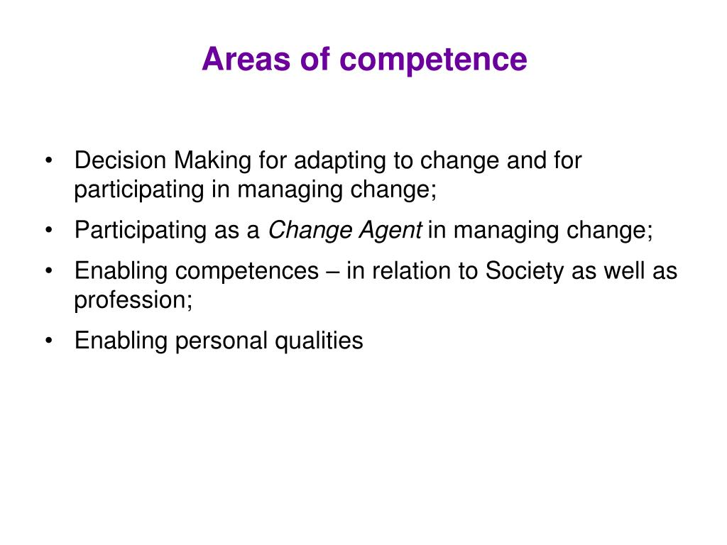 Areas of competence