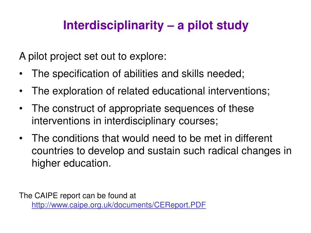 Interdisciplinarity – a pilot study