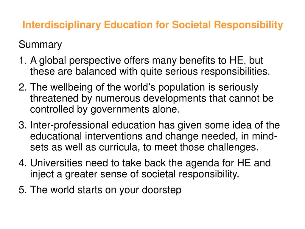 Interdisciplinary Education for Societal Responsibility