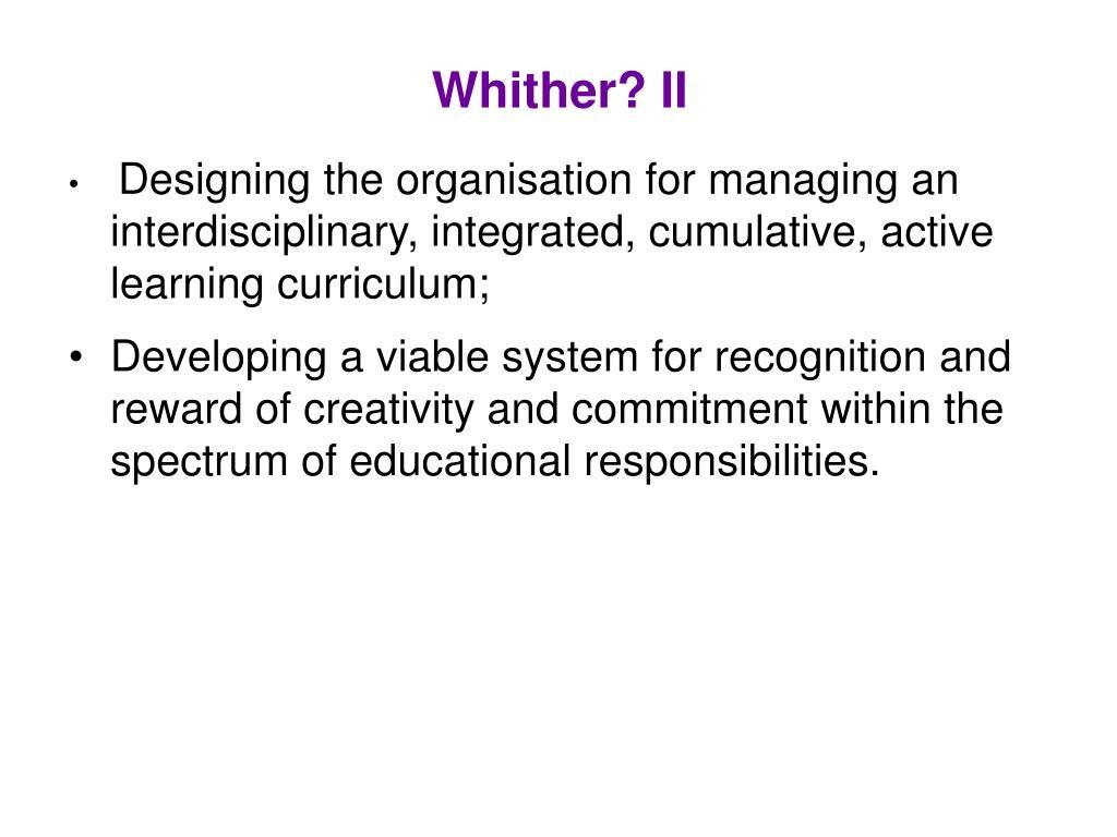 Whither? II