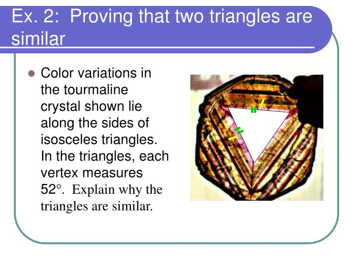 Color variations in the tourmaline crystal shown lie along the sides of isosceles triangles.  In the triangles, each vertex measures 52