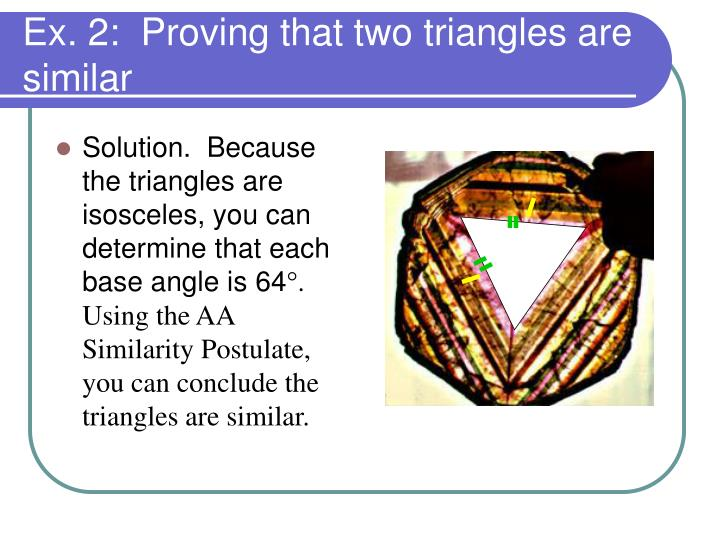 Solution.  Because the triangles are isosceles, you can determine that each base angle is 64