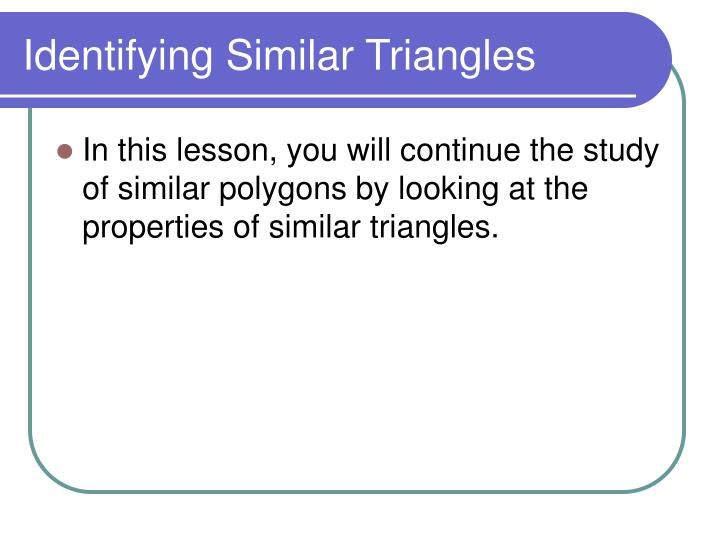 Identifying similar triangles