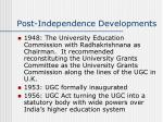 post independence developments