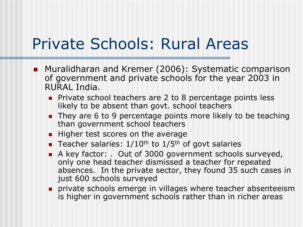 Private Schools: Rural Areas