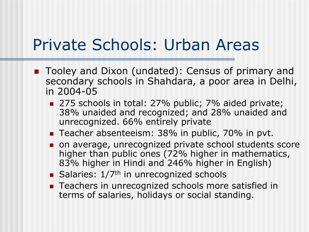 Private Schools: Urban Areas