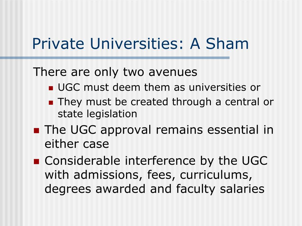 Private Universities: A Sham
