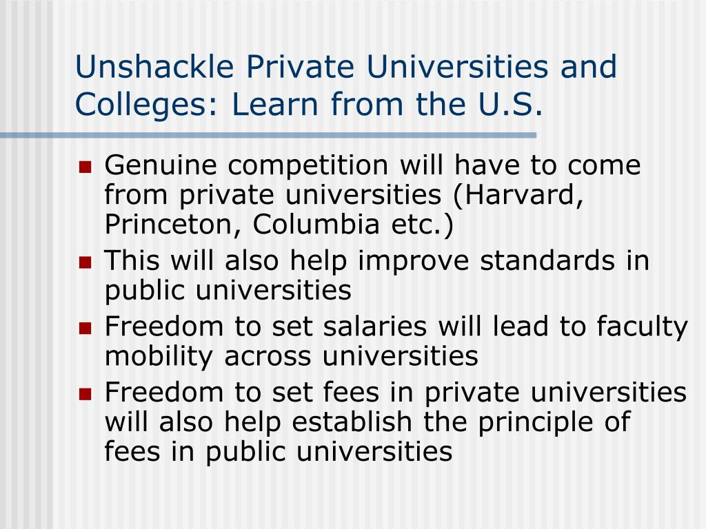 Unshackle Private Universities and Colleges: Learn from the U.S.