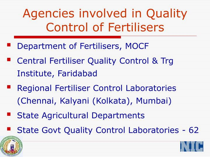 Agencies involved in Quality Control of Fertilisers