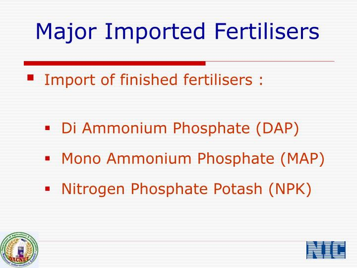 Major Imported Fertilisers