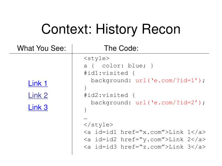 Context: History Recon