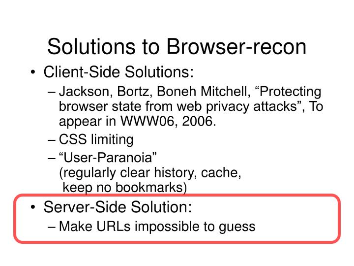 Solutions to Browser-recon