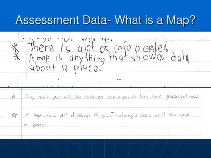 Assessment Data- What is a Map?
