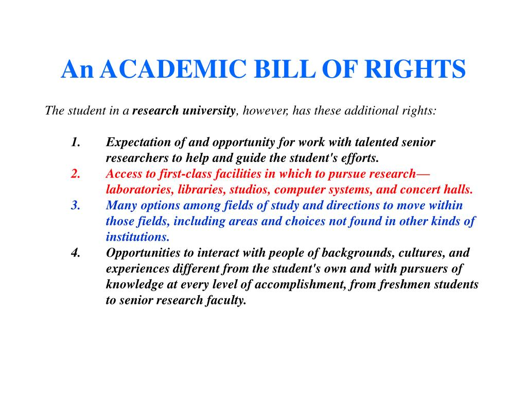 An ACADEMIC BILL OF RIGHTS