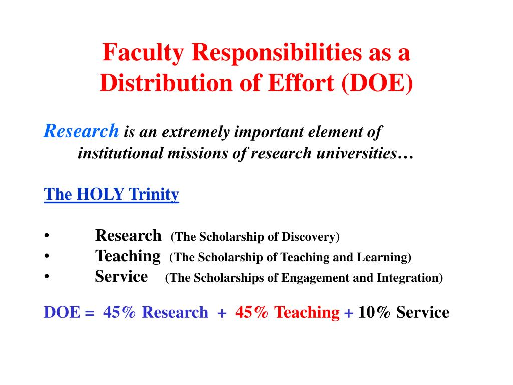Faculty Responsibilities as a Distribution of Effort (DOE)